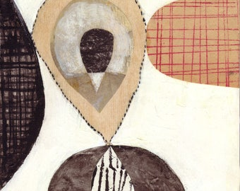 mid century modern collage mixed media on cradled wood panel pen ink acrylic  white black red organic forms