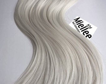 Icy Ash Blonde Clip In Extensions    Silky Straight Natural Human Hair   8 Pieces For a Full head   120, 170, 220 & 270g Sets