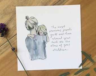 Precious Jewels - Watercolor Print of Mother and Child