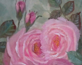 Pink Roses And Rosebuds, original oil painting, 5x7