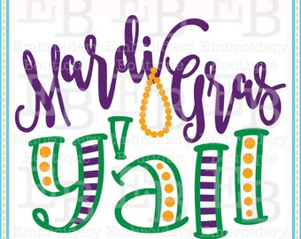 Mardi Gras Y'all SVG - This design is to be used on an electronic cutting machine. Instant Download
