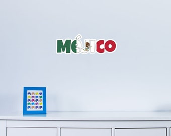 National Flag Country Name of Mejico Vinyl Wall Art