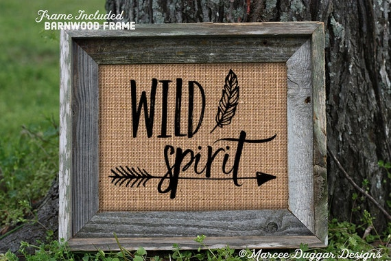 Framed Burlap Print | Gift for Teen | Wild Spirit | Scripture | Feathers | 132