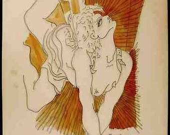 JEAN COCTEAU - original mixed media painting - c1950s - Important 20th Century French artist (Picasso, Matisse, Dali interest)