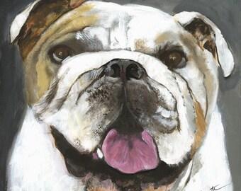 Fine art PRINT** acrylic painting, bulldog