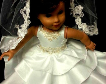 18 inch doll communion wedding ,flower girl ,made to match yours dolly and me