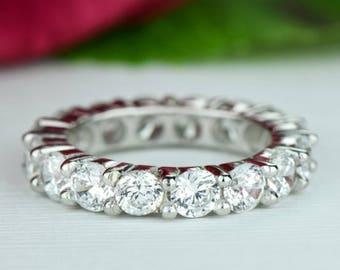 4 ctw Full Eternity Band, Engagement Ring, Anniversary Band, Man Made Diamond Simulants, Round Bridal Ring, Wedding Ring, Sterling Silver