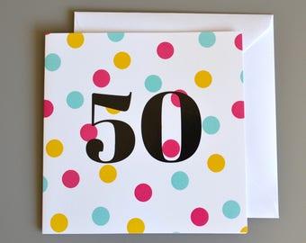 50th Birthday Card -50- Fifty - Pink Polka Dot Birthday Card for Her - age 50 - 50th birthday card for her