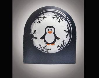 Snow Globe card Cute Penguin template