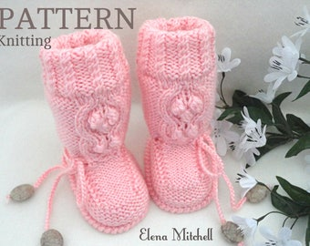 Knitting PATTERN Baby Booties Baby Shoes Pattern Baby Uggs Knitting Patterns Baby Boy Baby Girl Booties Infant Booty Newborn Baby Boots PDF