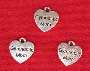 """5pc """"Gymnastic mom"""" charms in silver style (BC1175)"""