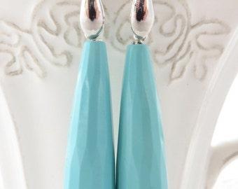Turquoise earrings, long drop earrings, carved teardrop earrings, sterling silver,925 earrings,  italian gemstone jewelry, wedding jewelry