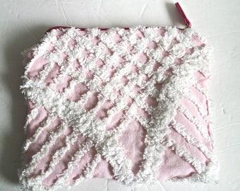 Zipper Cosmetic Bag*Chenille Zipper Bag*Lined Cosmetic Bag*Pink Zipper Bag