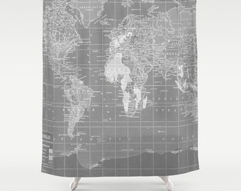 World Map Shower Curtain - Gray and white, Home Decor travel decor wanderlust - industrial chic, Bathroom -Minimalist Grey Vintage Map