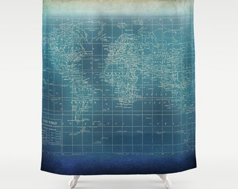 Decorative Map Shower Curtain -  dark blue and teal Grunge World Map Shower Curtain  - Home Decor - Bathroom,  dark blue, Travel, manly
