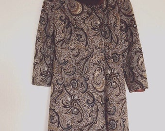Vintage  60's Tapestry Fur Collar Coat