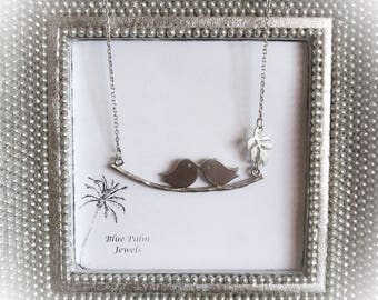 20% OFF- Handmade Silver Bird and Leaf Charm Necklace