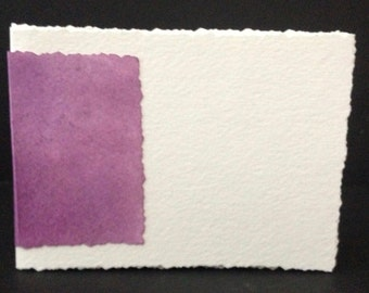 """Hand-Bound, Blank Watercolor Paper Journal 4""""x 6"""" with Purple Colored Spine"""