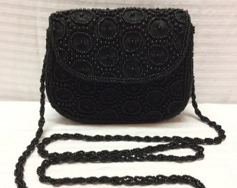 Black Beaded Purse, Formal, Shoulder Bag