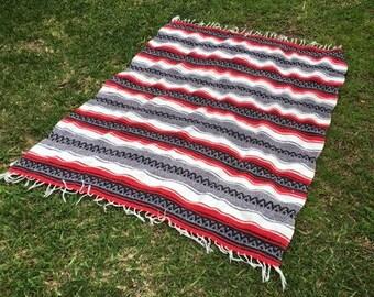 "Falsa blanket,Mexican blanket, Indian Blanket, Red,gray,white,black, Fringed 63"" L x 50"" W"