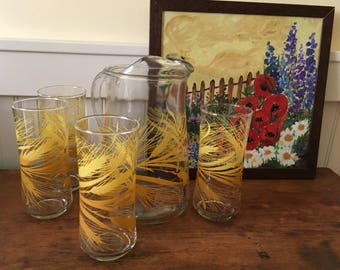 Nice Mid Century Libbey Wheat Pitcher and Four Tall Glasses