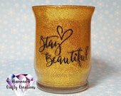 Stay Beautiful Make Up Brush Jar, Make Up Container, Glass Make Up Brush Holder, Glitter, Lips, Hot, Gold Glitter