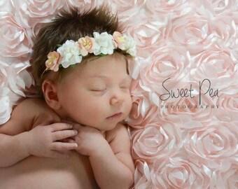 Peach and Cream Headband, Peach Flower Girl Headband, Ivory Headband, Peach Headband, Flower Headband, Floral  Crown Headband