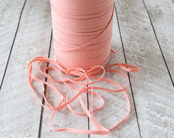 Peach 1/8 inch Skinny Elastic - Elastic For Baby Headbands - 5 Yards
