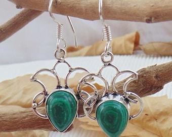 Stylish Earring Jewelry,Malachite Silver Drop Earrings, Stabilized  Earring, Bridesmaids Earring, Gemstone Earring, Handmade Earring, E1128