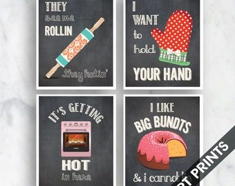 Rollin, Your Hand, Hot Stuff, Big Bundts (Funny Kitchen Song Series) Set of 4 Art Prints (Featured in Vintage Chalkboard) Kitchen Art