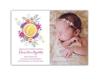 Baby Girl Birth Announcement // Birth Announcement Floral // Baby Announcement Girl // 5x7 Printable Photo Birth Announcement // The Claire