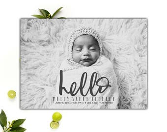 Baby Announcement Cards // Hello Birth Announcement // Printable Baby Card // 5x7 Printable Photo Birth Announcement Card // The Molly