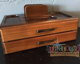 Mid Century Modern Wood Desktop Organizer