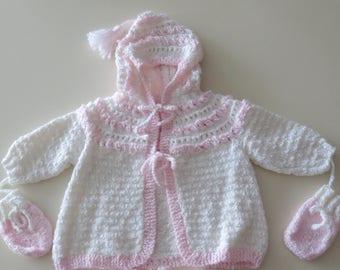 Hand Knitted Baby Sweater, peach sweater, newborn sweater, children sweater, babies sweater, knit child, kids sweater, baby knitwear