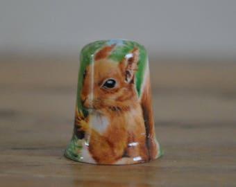 Vintage thimble - China - Squirrel - Nature - Woodlands - Animal