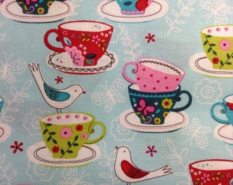 One Half Yard of Fabric Material - Birds and Tea Cups