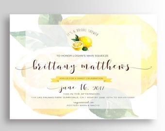 "Lemon Bridal Shower Invitation - 5""x7"" Invitation - Lemon Shower Invite, Lemon Shower Invite, Bridal Brunch"