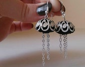 Pierced ears earrings oriental style silver and black - inspired by Jellyfishes - Height : 6 cm