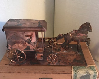 ON SALE!! Vintage Amish Copper-plated Horse and Buggy