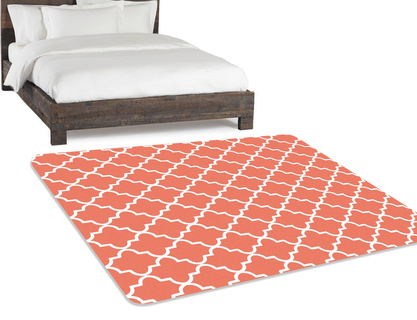 Coral Rug Living Room Rug Bedroom Rug Area Rug 5x8