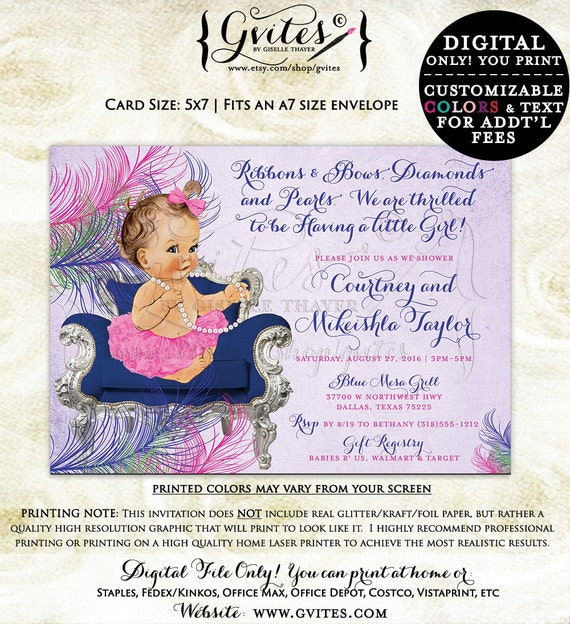 Baby shower invitations diamonds and pearls, purple and blue, elegant baby shower, ribbons and bows, vintage peacock colors pink lavender