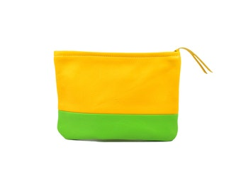 Small Leather Clutch/Pouch/Cosmetics Bag in Yellow & Green; Genuine Full Grain Leather; Unlined; Color Block Clutch