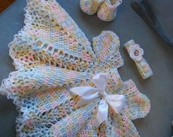 Crochet baby dress set...varigated baby soft colors
