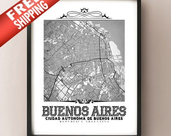 Buenos Aires Vintage Style Black & White Map Art Print - Buenos Aires, Argentina City Map Decor