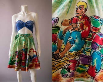 vintage 1950s skirt / 50s hand painted Mexican cotton skirt / xs / The Potter Skirt