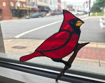 Red Cardinal Bird Suncatcher Stained Glass