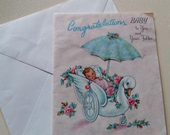 Vintage Congrats New Baby Card