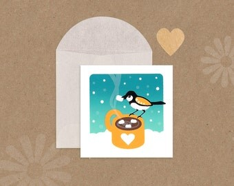 Cocoa Bird hand screenprinted mini notecards / Set of 4