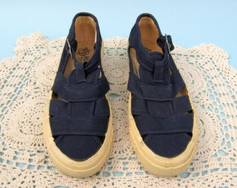 70s Navy Blue Canvas Shoes, Size 6.5, 7, Vintage Sneakers, MOOTSIES TOOTSIES, Tennis Shoes, Woven, Cut-Out, Buckled, T Strap, Mary Jane