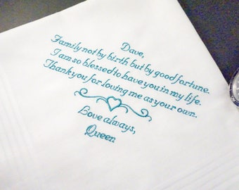 Personalized Step Mother of the Bride Keepsake Handkerchief - Family Not By Birth But By Good Fortune -Thread Born Memories